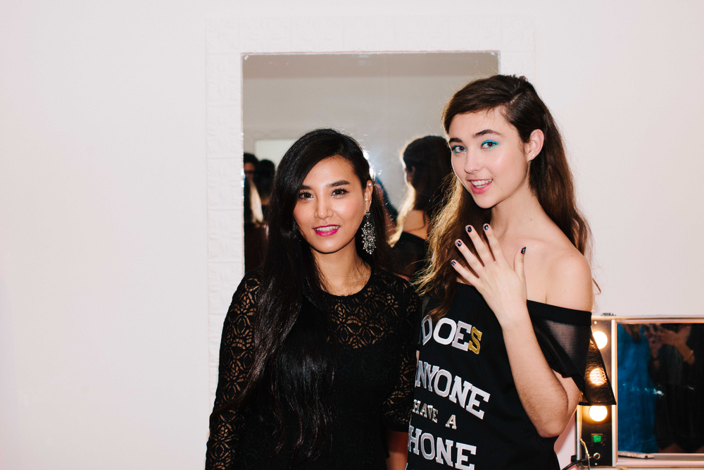 <p>Caption Polish senior nail stylist Soo Kim (left) and model at Nanette Lepore. Photo by Atisha Paulson</p>