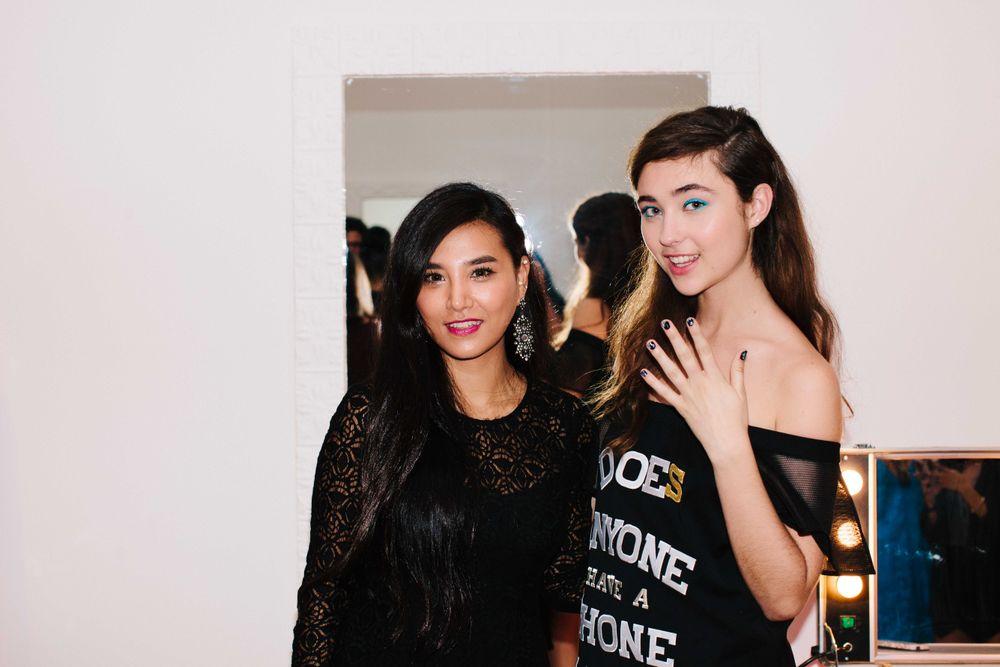 <p>Caption Polish senior nail stylist Soo Kim (left) and model at Nanette Lepore. Photo by Atisha Paulson</p>