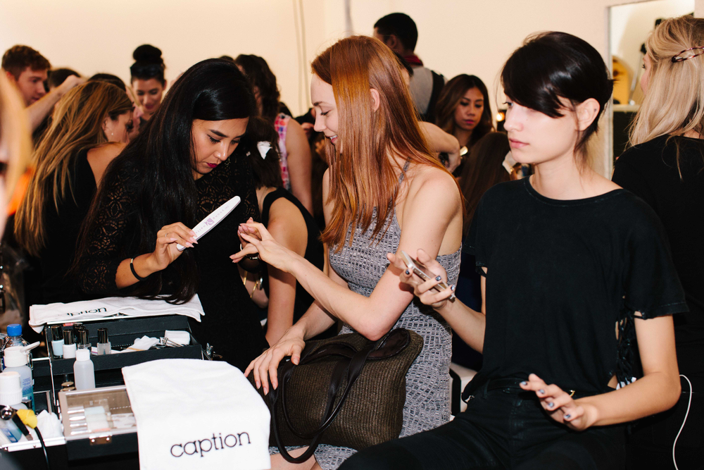 <p>Backstage at Caption Polish for Nanette Lepore. Photo by Atisha Paulson</p>