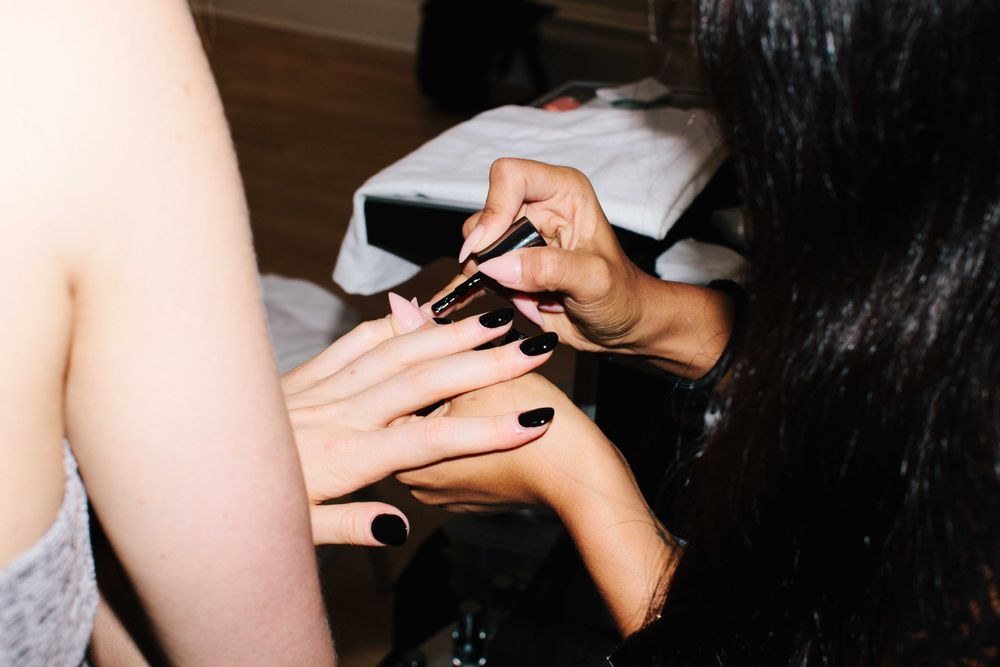 <p>The nail look at Nanette Lepore starts off with two coats of Caption Polish Look, Don't Touch. Photo by Atisha Paulson</p>