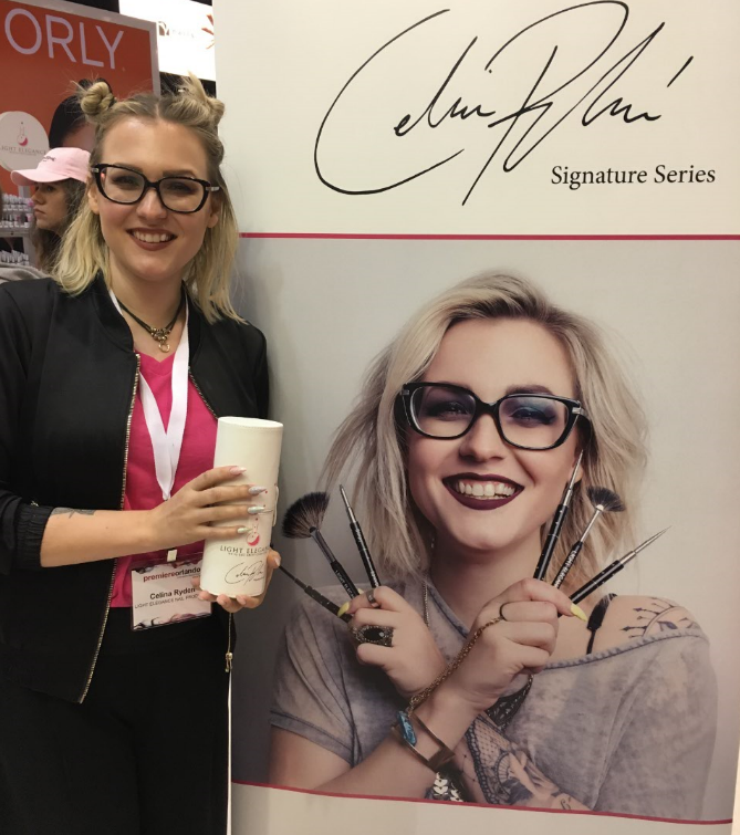 <p>Celina Ryden at the Light Elegance booth</p>