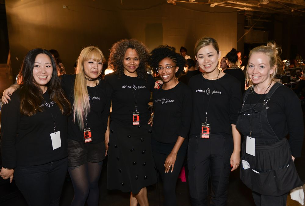 <p>The China Glaze team at Opening Ceremony: Chiharu Natsume, Jessica Tong, Daria Hardeman, Mimi Wilson, Lead Nail Artist Naomi Yasuda, and Marisa Carmichael; Photo courtesy of MatthewCarasella</p>