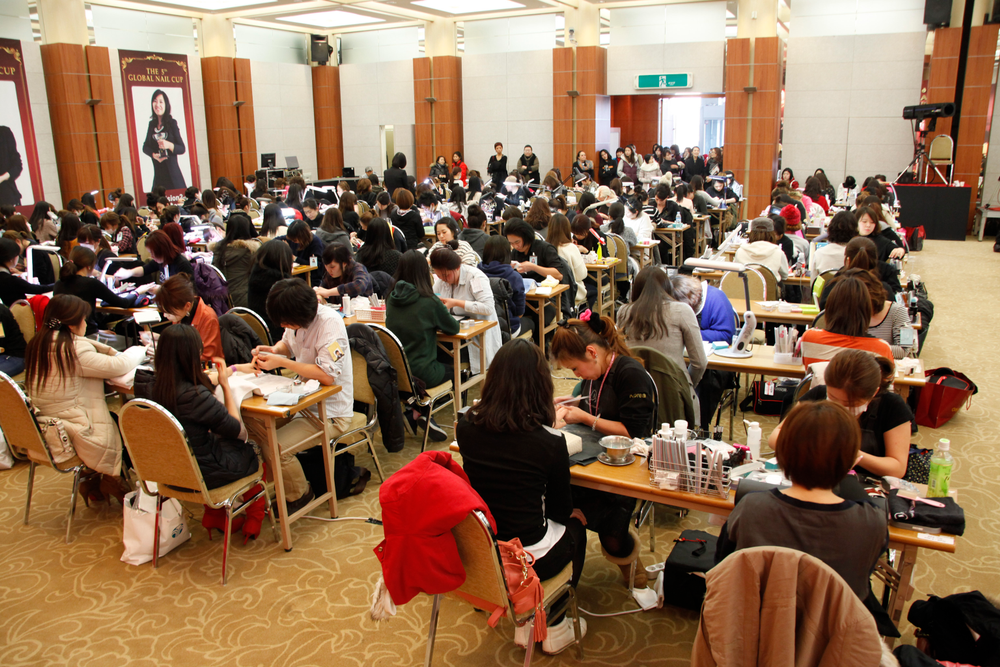 <p>Nail competitors packed the main hall at the Kim Koo Museum in Seoul.</p>