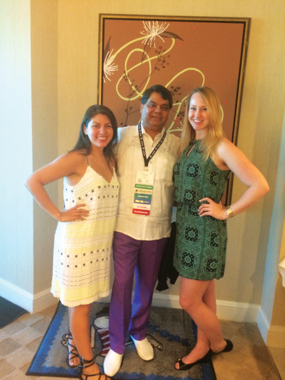 <p>NAILS' Beth Livesay (left) and Shannon Rahn (right) stopped by American Dawn's suite party to chat with Ron Kathari.</p>
