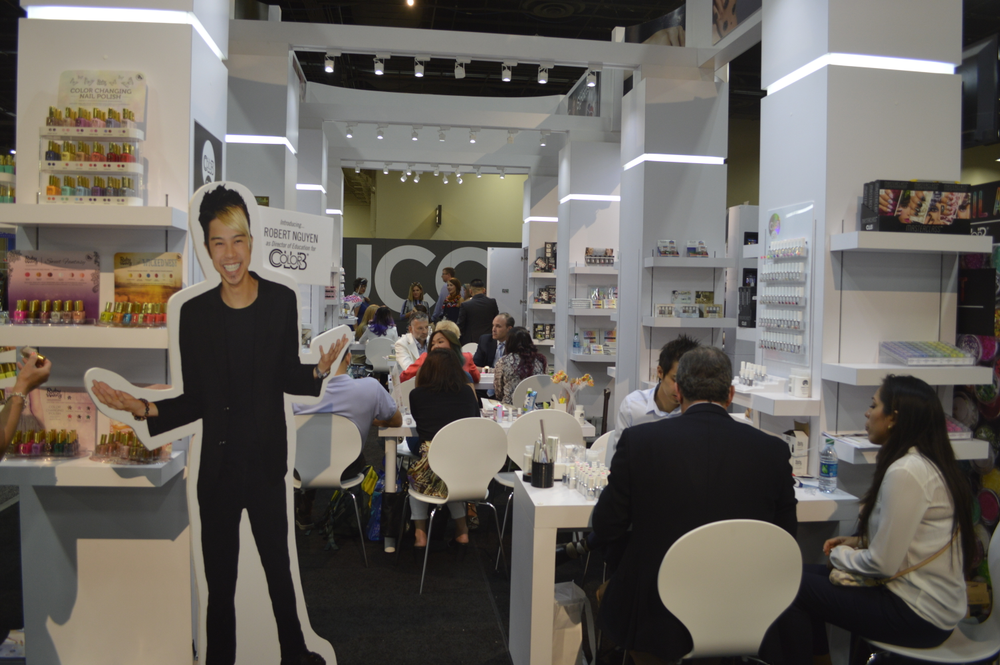 <p>Robert Nguyen's stand in at the Color Club booth.</p>