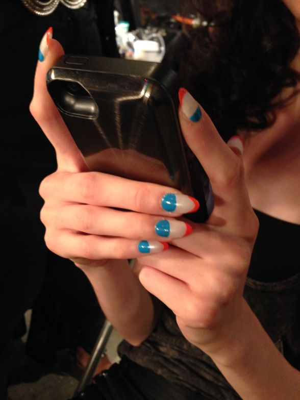 <p>London designers Cute Circuit wanted a colorful French manicure that would match the bright colors of its Spring/Summer 2015 collection. Photo courtesy of Cuccio Colour.</p>