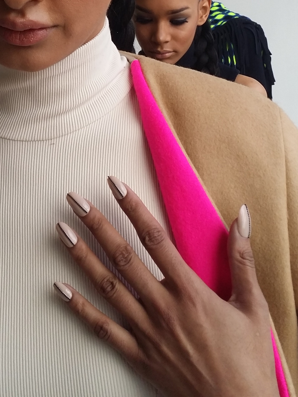 <p>La Quan Smith showed an array of textures, so the designer chose two nail looks from Cuccio.</p>