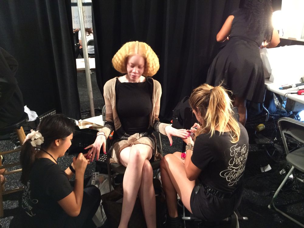 <p>Gina Eppolito and her team at Cuccio Colour created chic and sophisticated nails for designer David Tlale's collection at NYFW.&nbsp;Photo courtesy of Cuccio.</p>