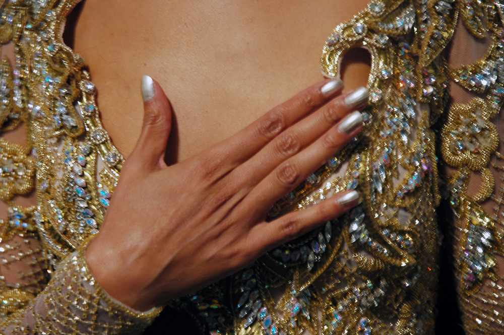 <p>Pattie Yankee and her team applied the silver metallic <strong>Dashing Diva</strong> No More Alimony polish to the models&rsquo; nails at the Farah Angsana show. (Photography by Ann Lawlor)</p>