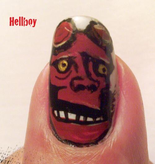 "<p>Hellboy nail art by <a href=""http://nailartgallery.nailsmag.com/attedragon"">Dannette Pratt</a>, Athens, Ohio</p>"