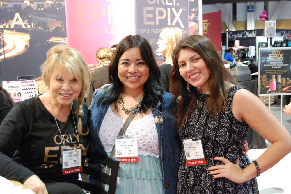 <p>Orly's Elsbeth Schuetz, NAILS assistant editor, Sigourney Nu&ntilde;ez, and NAILS senior editor Beth Livesay</p>