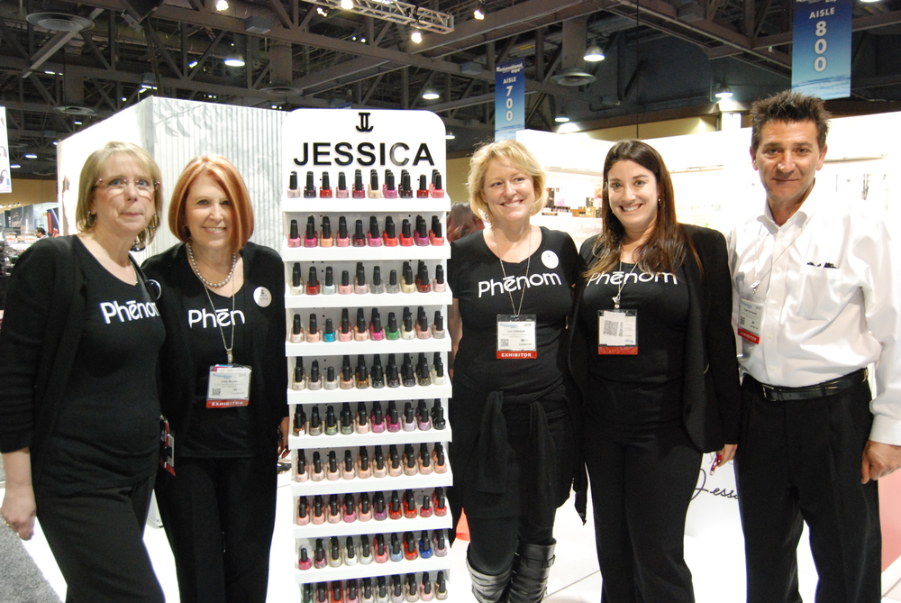 <p>Jessica Cosmetic's Kris Ruffin, Joey Brown, Lori Gillespie, Haley Marcus, and Peter Sarkissian</p>