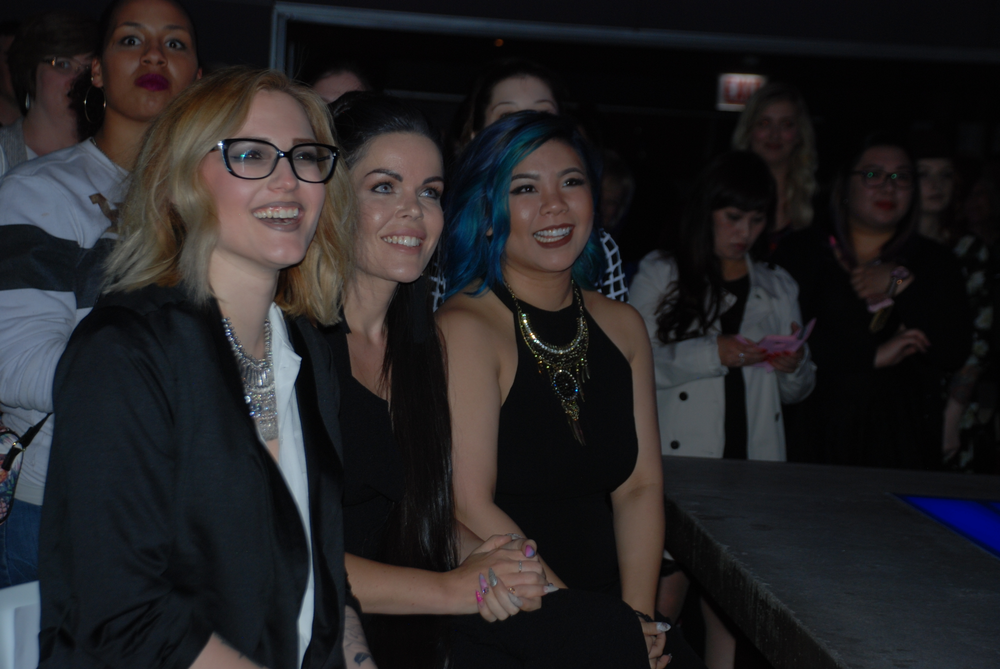 <p>Celina, Sarah, and Winnie wait to find out who will be the winner</p>
