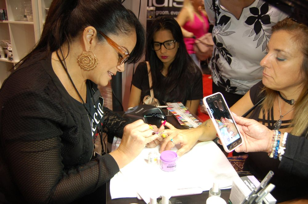 <p>Marilyn Garcia of Cuccio demoing.</p>