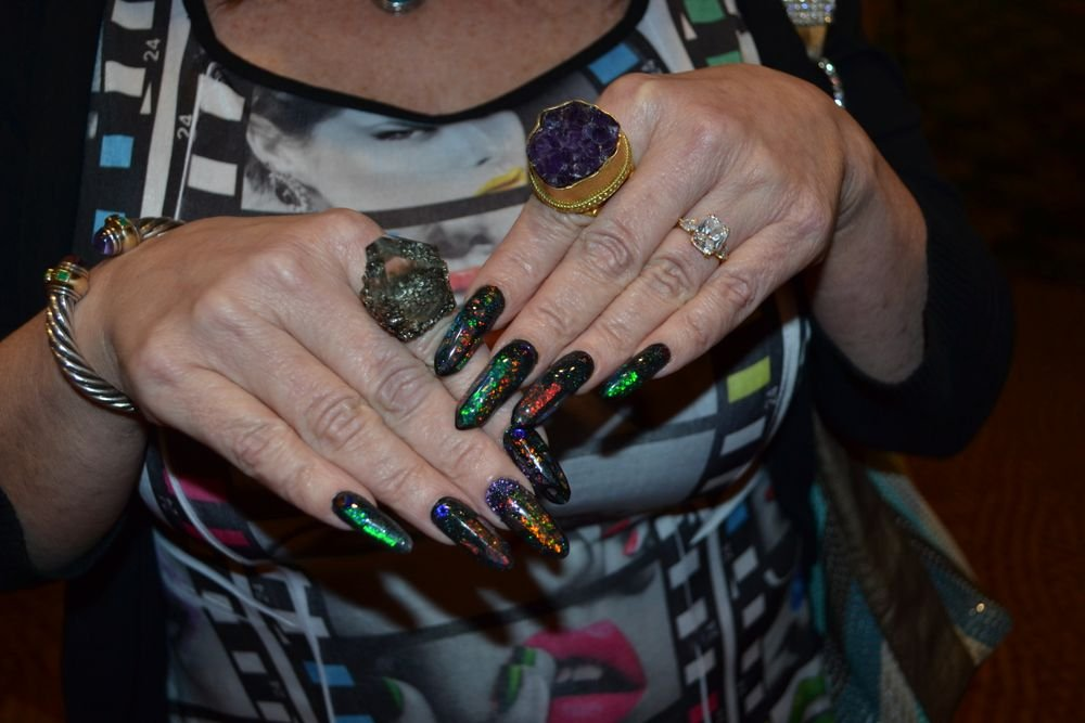 <p>Athena Elliott's fabulous nails and homemade rings!</p>
