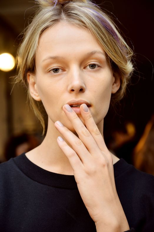 <p>The matte, dusty lavender nail&nbsp;was created by custom mixing&nbsp;Morgan Taylor&nbsp;iridescent&nbsp;purple&nbsp;Something To Blog About&nbsp;with gray shimmer&nbsp;Scene Queen&nbsp;finished with&nbsp;Mattes A Wrap&nbsp;top coat.&nbsp;Photo courtesy of Morgan Taylor.&nbsp;&nbsp;</p>