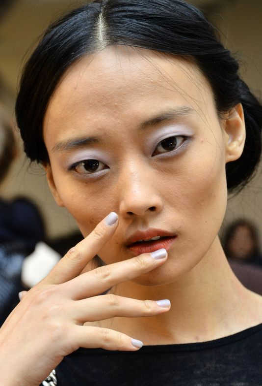 <p>The nails at<strong>&nbsp;</strong>Sally LaPointe&nbsp;were an understated, youthful, foggy&nbsp;pigment&nbsp;&nbsp;to complement the designer's 'less-is-more' inspiration. Photo courtesy of Morgan Taylor.&nbsp;&nbsp;</p>