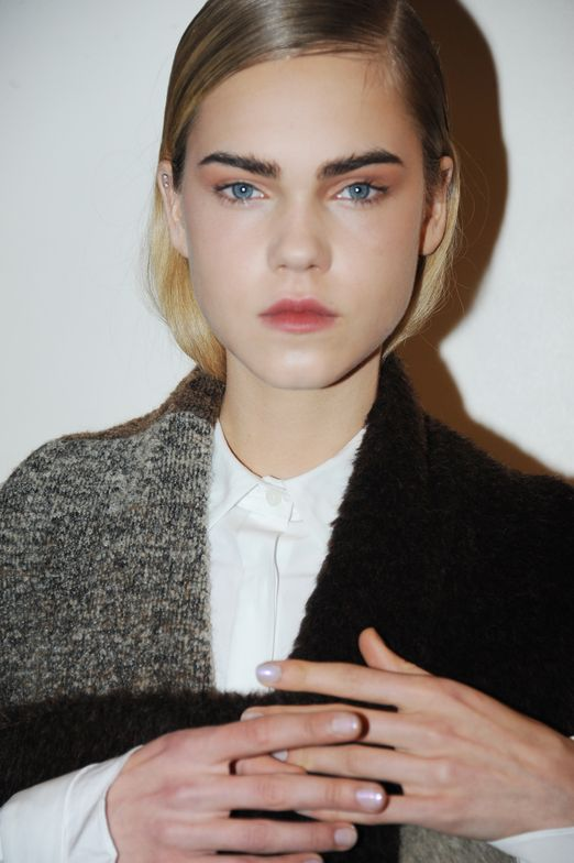 <p>Glacier-esque manicures from Gina Edwards for Morgan Taylor walked the runway at Thakoon.</p>