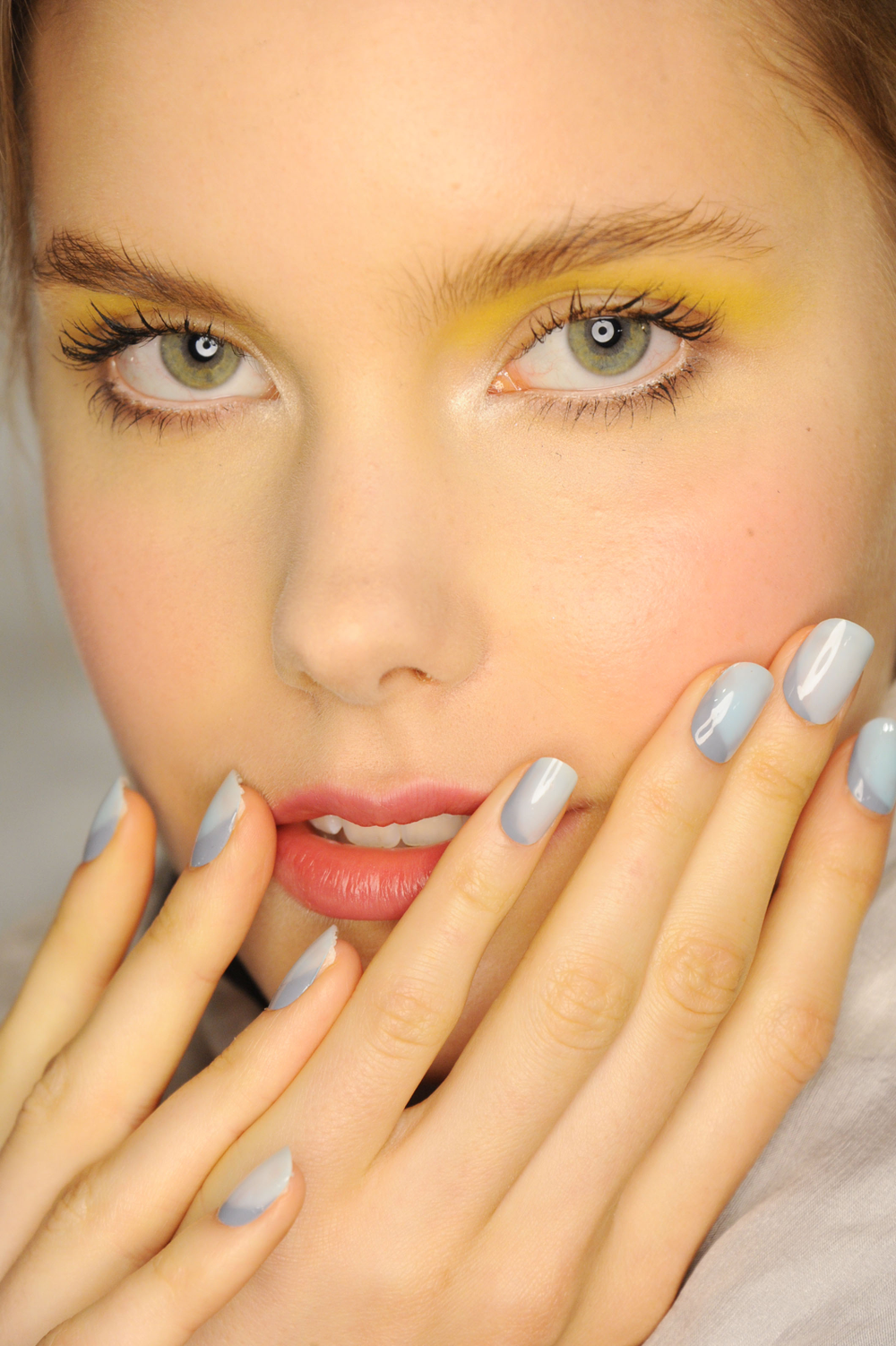 <p>Morgan Taylor&rsquo;s lead manicurist, Gina Edwards created a captivating geometric blue nail for Angel Shanchez&rsquo;s S/S 2015 runway. Photo courtesy of Morgan Taylor.&nbsp;</p>