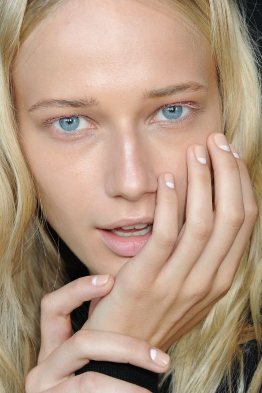 <p>Morgan Taylor I'm Charmed, New School Nude, and Mattes A Wrap made for an understated nail look at CG Chris Gelinas. Nails designed by Gina Edwards. Photo courtesy of Morgan Taylor.&nbsp;&nbsp;</p>