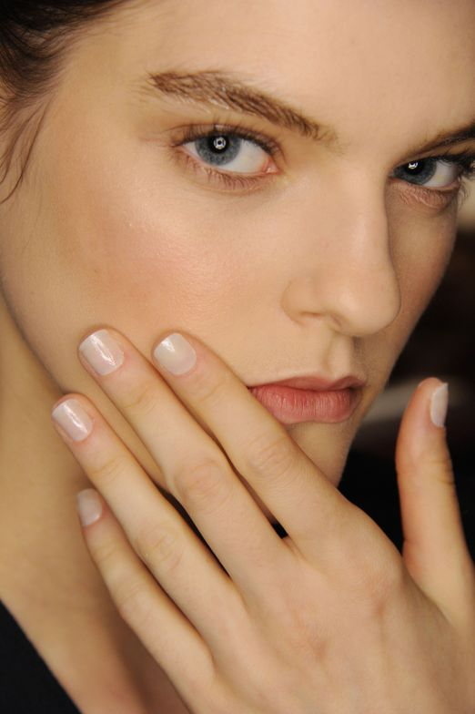<p>Edwards applied one coat of Morgan Taylor Sugar Fix, two coats of Make It Last, and a top coat for a high-gloss dewy finish at Thakoon. Photo courtesy of Morgan Taylor.&nbsp;</p>