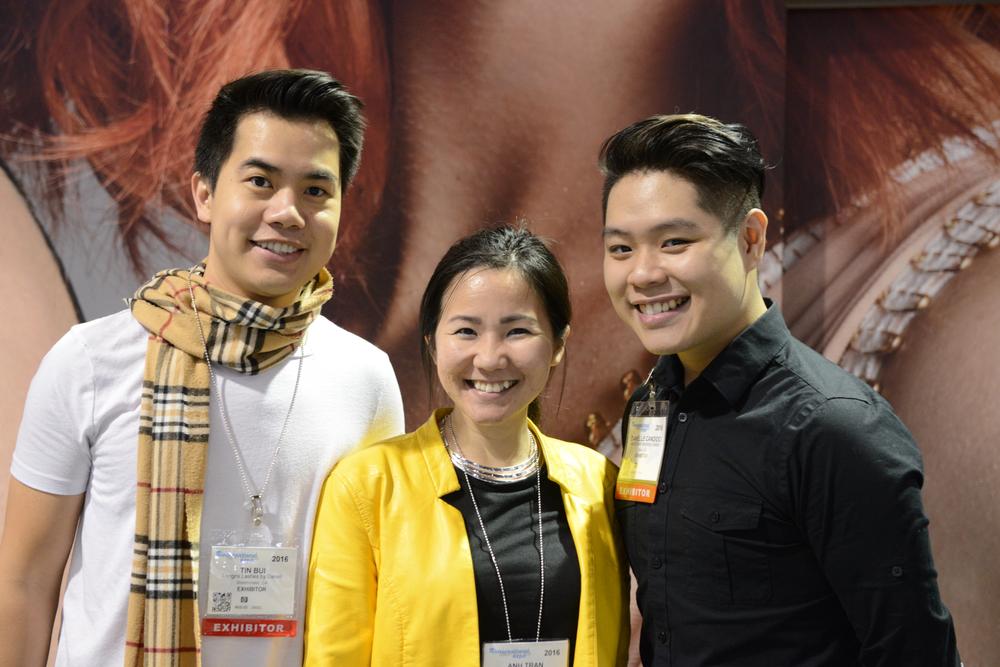 <p>Tin Bui, VietSALON managing editor Anh Tran and Bryan Vu</p>