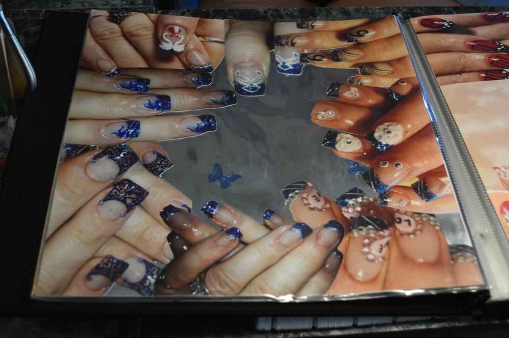 <p>Eva Jenkins' photos of her early nail artwork.</p>