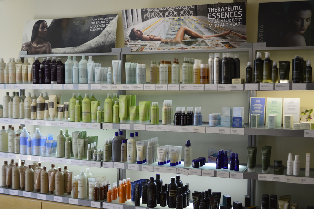 <p>Maisie Dunbar's salon in Silver Spring, Md. The hair dresser she works with is affiliated with Aveda.</p>