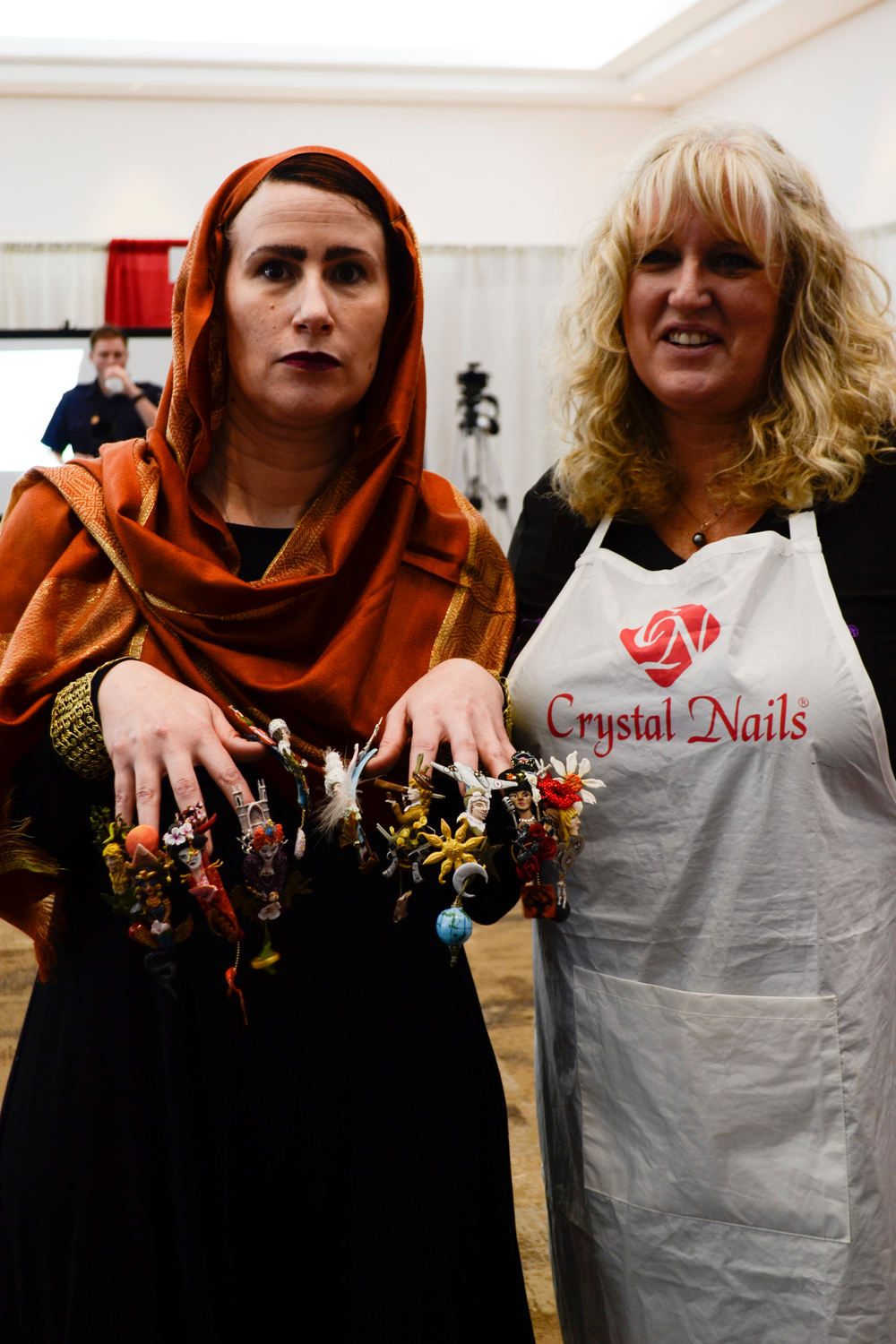 <p>Guin Deadman and Shannon McCown in the fantasy nail art competition.</p>