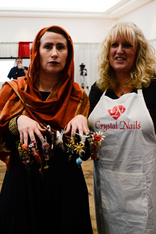 <p>Guin Deadman and Shannon McCown in the fantasy nail art competition. </p>