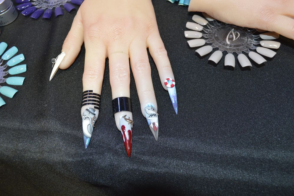 <p>Shark week nails by Deanna Stelmaschuk of En Vogue. </p>