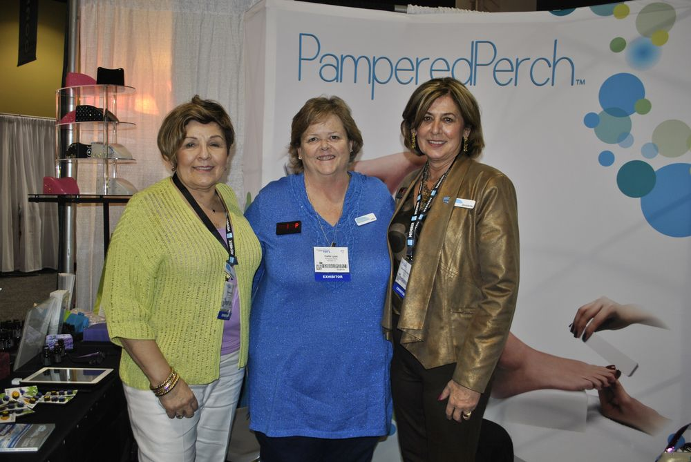 <p>Pampered Perch founder Theresa Cantu poses proudly with Carla Lynn and Sharon Mullarkey.</p>