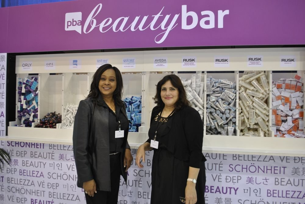 <p>Holli Holliday and Pamela Jaye worked the Beauty Bar, helping to raise proceeds for the PBA Disaster Relief Fund.</p>