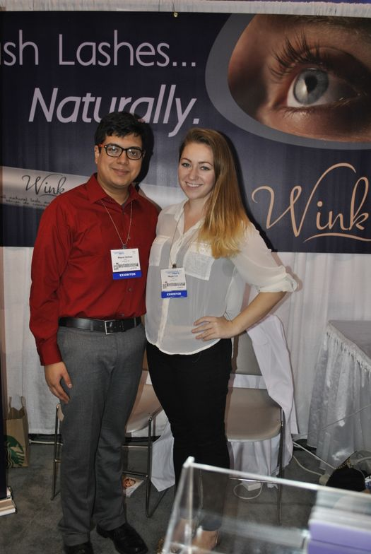 <p>Wink Cosmetics' Miguel Salinas and Megan Cox enjoyed the brand's first trade show.</p>