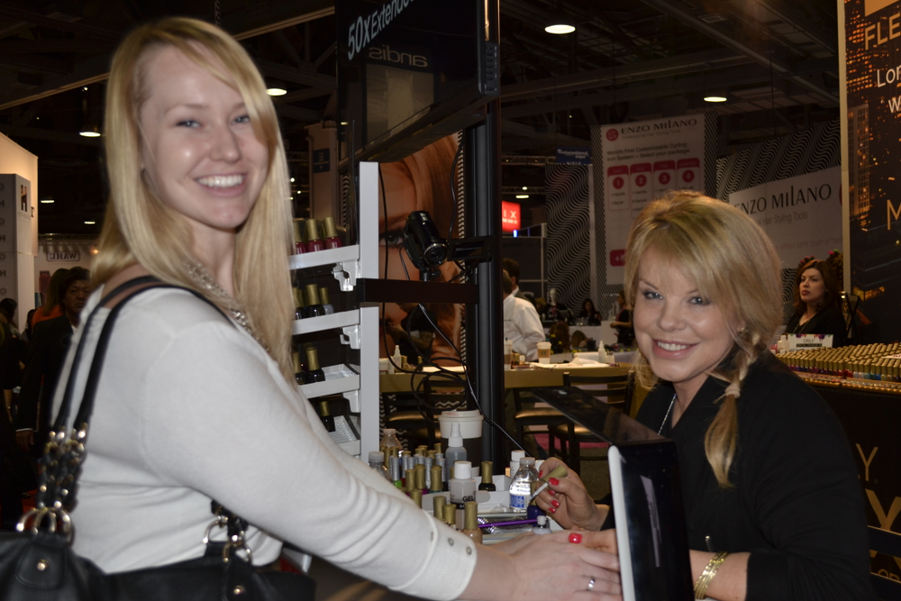 <p>NAILS sales associate Shannon Rahn and Orly's Elsbeth Schuetz</p>