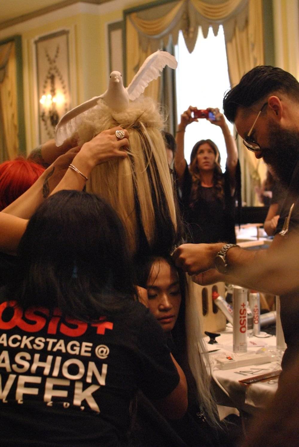 <p>This model's hair was woven into an actual wig that stood feet above her head.</p>