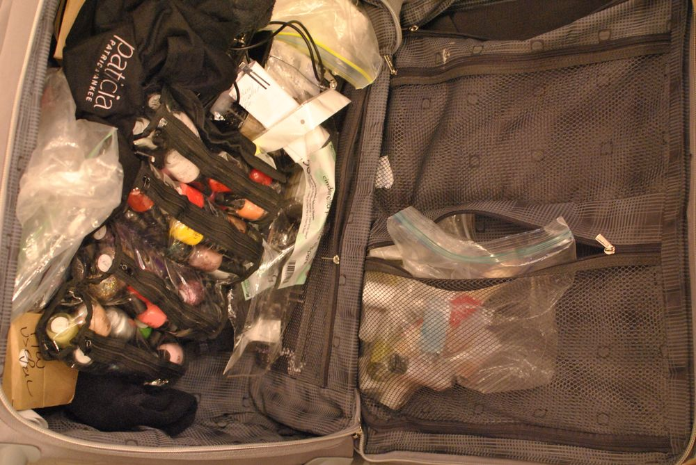 <p>What the Patricia Nail Lacquer team carries around from show to show.&nbsp;</p>