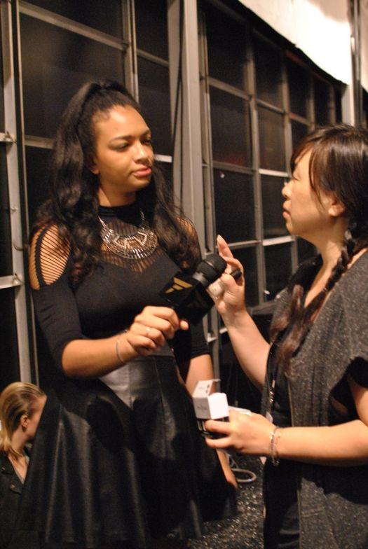<p>China Glaze nail lead Casey Herman talks to the press.</p>