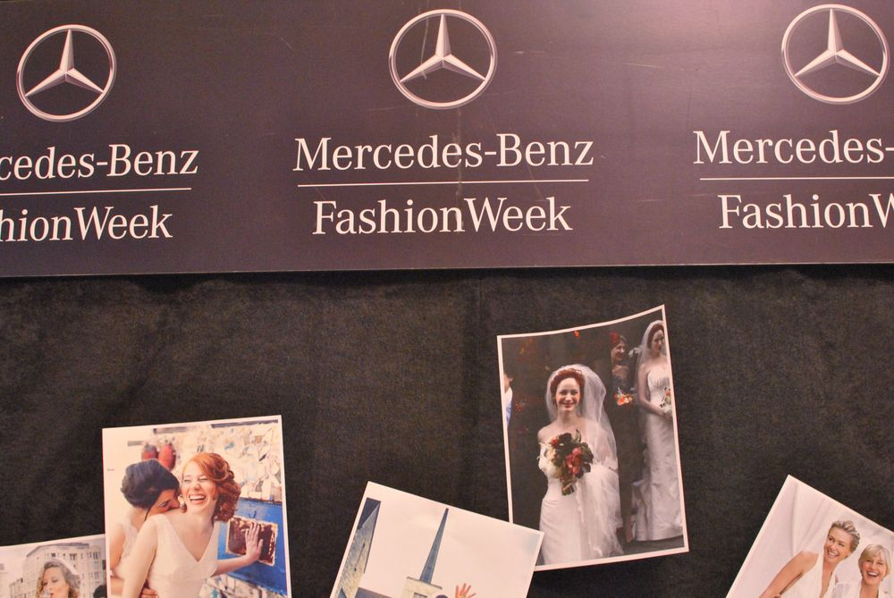 <p>Betsey Johnson's show was wedding-inspired, so these photos of happy couples lined the walls.&nbsp;</p>