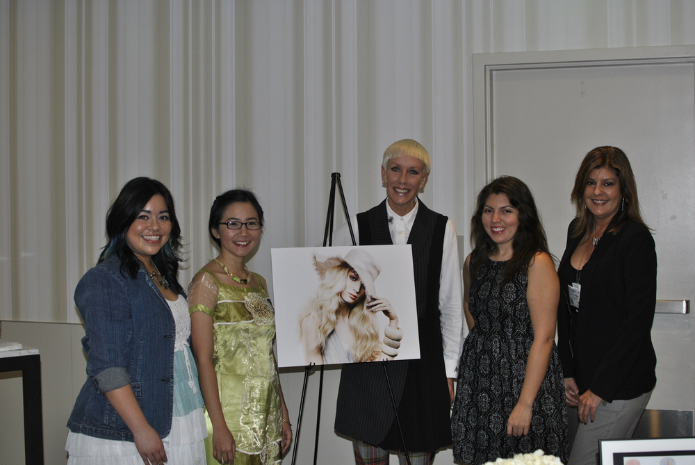 <p>NAILS' Sigourney Nunez, Anh Tran, Beth Livesay, and Tracy Rubert with CND's Jan Arnold (center)</p>
