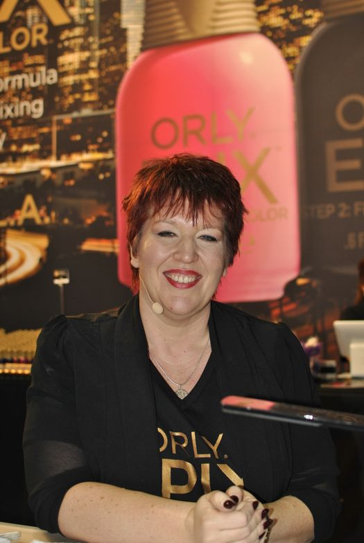 <p>Sam Biddle demoed Orly's flexible color Epix and talked nail art.</p>