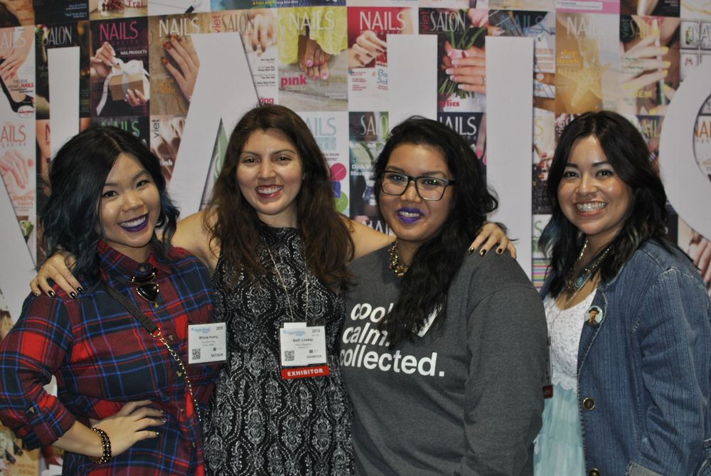 <p>Fun at the NAILS Magazine booth with Winnie Huang, senior editor Beth Livesay, Denise Escalante, and assistant editor Sigourney Nunez.</p>