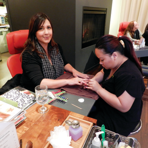 Nail tech Channy Bun performed the Girlfriend Glycolic Manicure, featuring a Glycolic peel and...