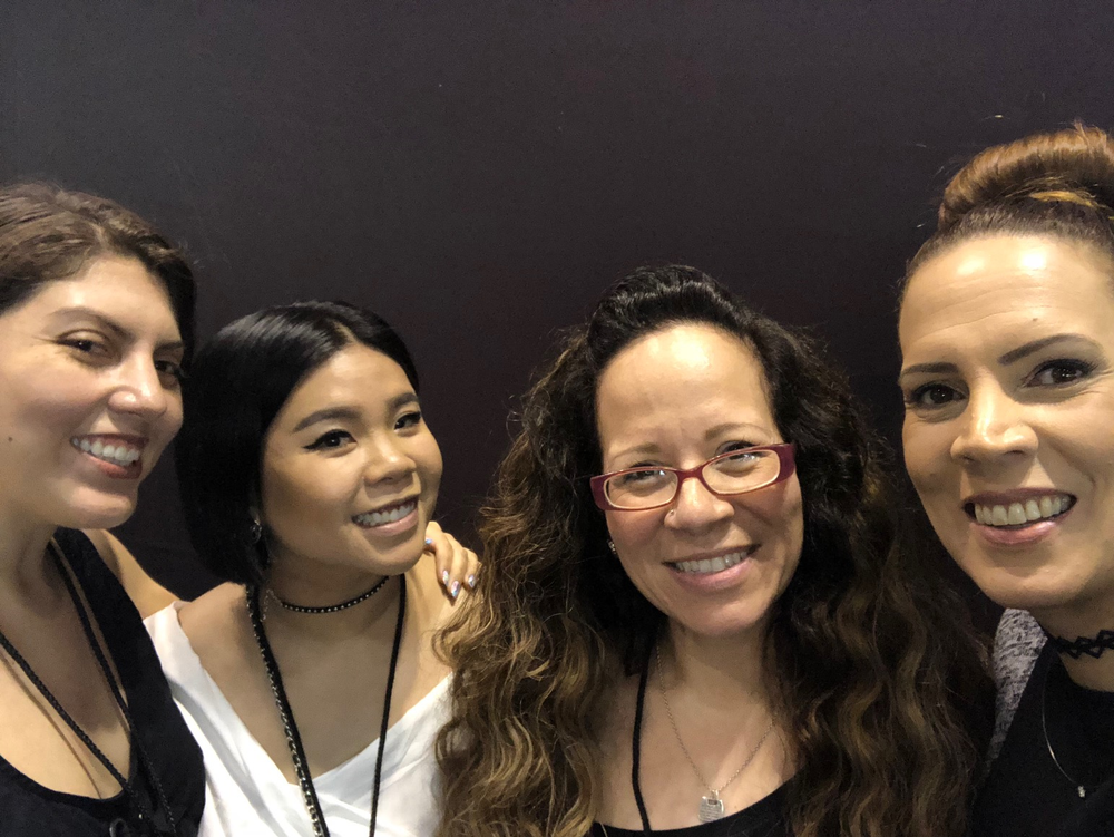 <p>NAILS executive editor Beth Livesay with Winnie Huang, Danalynn Stockwood, and Tracey Lee</p>