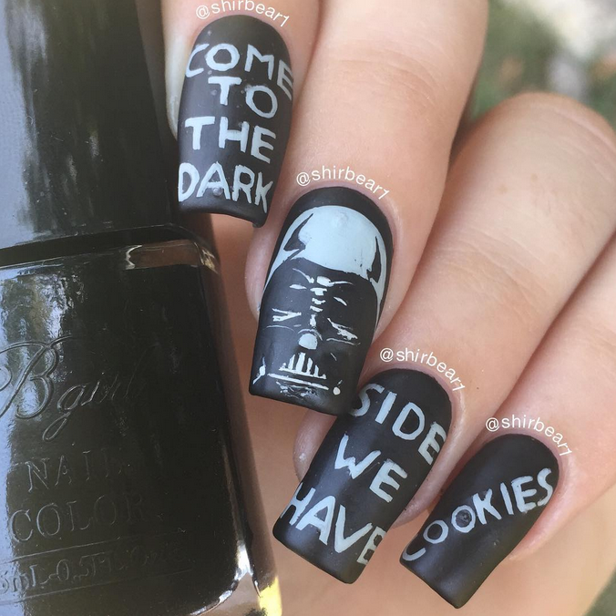 """<p>Darth Vader nails by <a href=""""https://instagram.com/shirbear1"""">@ShirBear</a> &mdash; <a href=""""http://www.nailsmag.com/video/113125/darth-vader-nail-art-time-lapse"""">Click here for a video tutorial of this design</a>.</p>"""