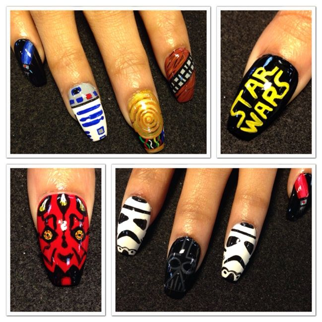 "<p>Storm trooper, R2, C3PO, Chewy, Darth Maul nails by <a href=""http://nailartgallery.nailsmag.com/oli123"">Olivia Gordon</a>, Lancaster, Calif.</p>"