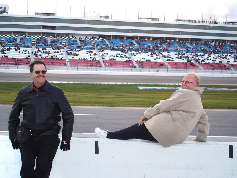 <p>Dave Doerrlamm and Vicki at the New Hampshire motor speedway in 2006</p>