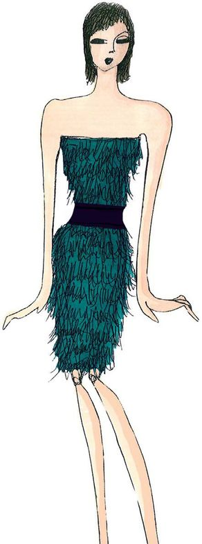 <p><strong>Deep Teal</strong>, a strong, blue-toned green, suggests ocean depths and the color of the sky as daylight descends into darkness. <em>Illustration by Tadashi Shoji. Originally appeared in The Pantone Fashion Color Report Fall 2011.</em></p>