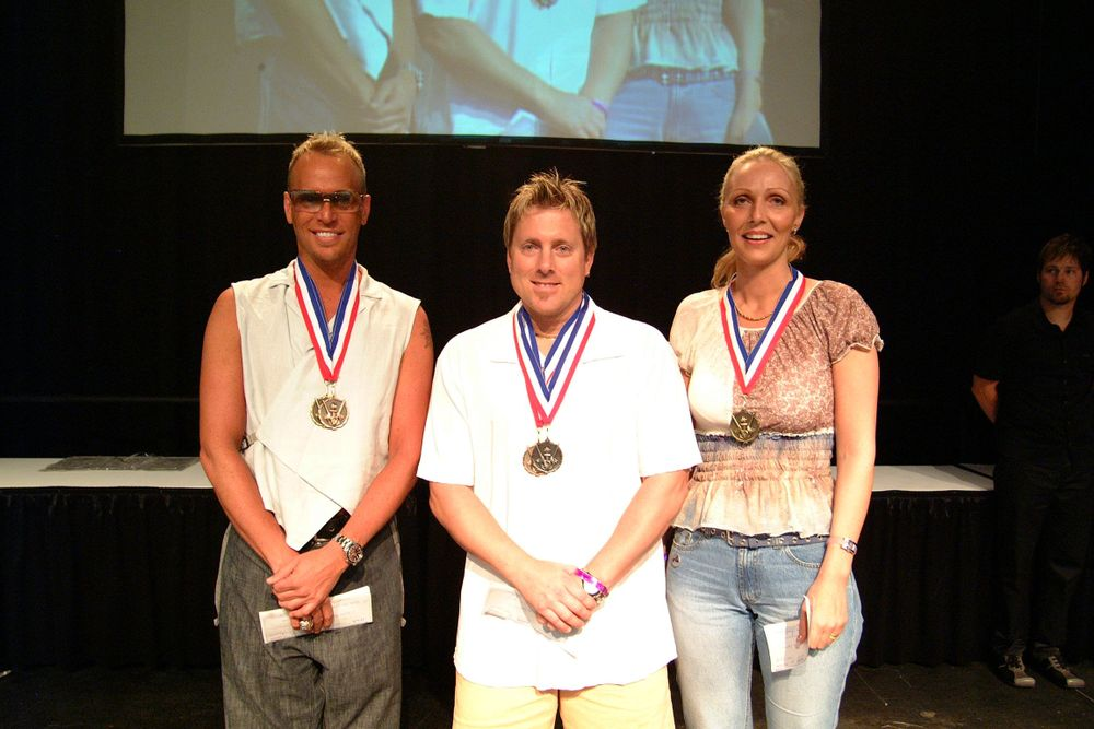 <p>With fellow competitors John Hauk (center) and Karin Strom at the Nailympics.</p>
