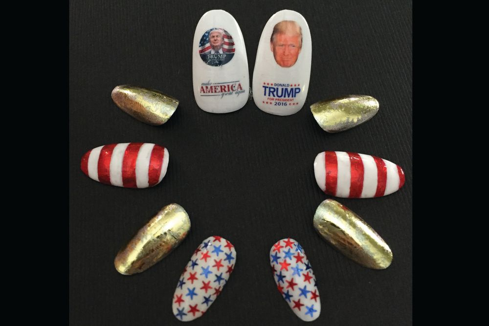 "<p>Donald Trump nails by Cate Widemire, The Black Comb, Wickliffe, Ohio <a href=""http://www.instagram.com/catewmire"">@catewmire</a></p>"